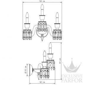 2808465 Baccarat Zenith Noir Бра, настенный светильник на 3 ламп 47 x 32 x 50см