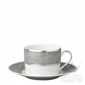 0459-91 Bernardaud Фарфор Платин Чашка чайная с блюдцем 150мл