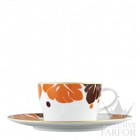 "TA20141570027 Fürstenberg Auréole Colorée ""orange/marone"" Чашка чайная с блюдцем 0,20л"