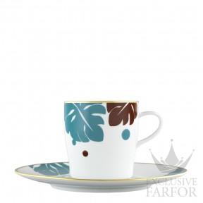 "TA20145700210 Fürstenberg Auréole Colorée ""langune/marone"" Чашка кофейная с блюдцем 0,20л"