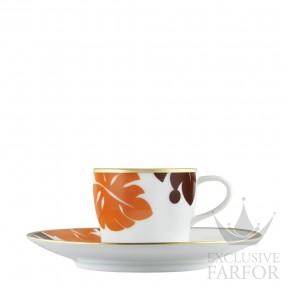 "TA2014770027 Fürstenberg Auréole Colorée ""orange/marone"" Чашка эспрессо с блюдцем 0,07л"