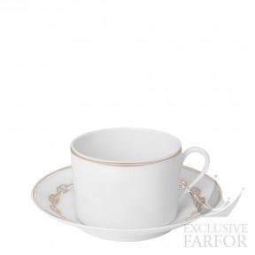 "004115P Hermes Chaine d'Ancre ""Platine"" Чашка для завтрака с блюдцем 340мл"